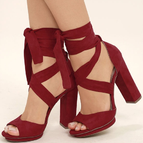 LULUS Michele Red Lace Up Heels